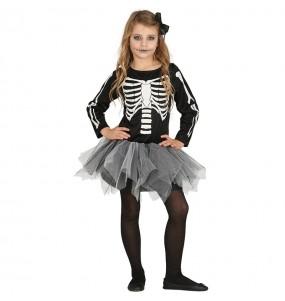 Disfraz de Esqueleto Tutú gris para niña