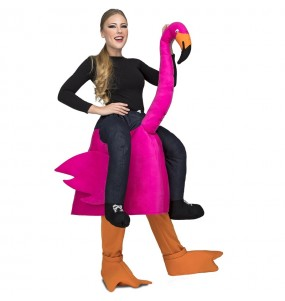 Disfraz de Flamenco rosa a hombros para adulto