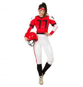 Disfraz de Fútbol Americano rojo para mujer