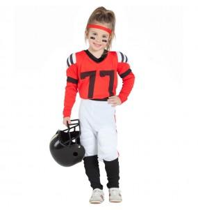 Disfraz de Fútbol Americano Rojo para niña