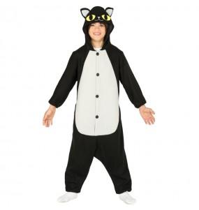 Disfraz de Gato Negro Kigurumi para niño