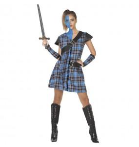 Disfraz de Guerrera escocesa azul para mujer