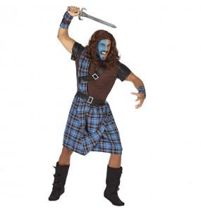 Disfraz de Guerrero escocés azul para hombre