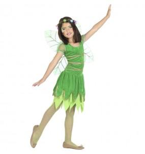 Disfraz de Hada verde con alas para niña