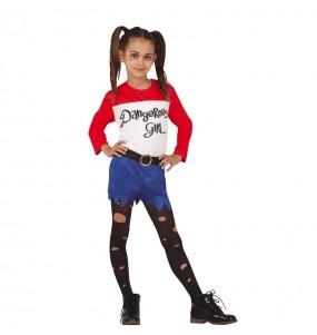 Disfraz de Harley Quinn Cómic para niña