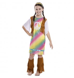 Disfraz de Hippie Arcoíris para niña