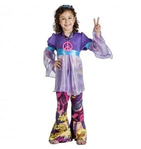 Disfraz de Hippie morado para niña