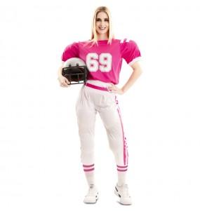 Disfraz de Jugadora de Rugby rosa para mujer
