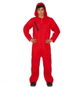 Disfraz de Ladrón de Bancos rojo para adulto