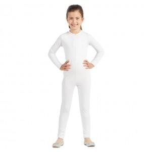 Disfraz de Maillot blanco spandex para niña