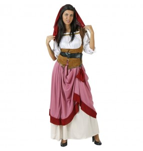 Disfraz de Mesonera medieval rojo para mujer