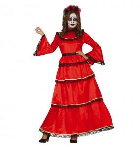 Disfraz de Catrina roja mexicana para mujer