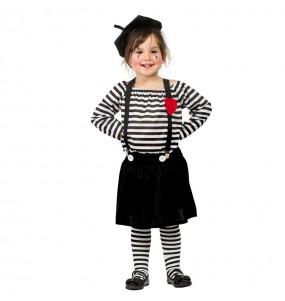 Disfraz de Mimo Clown para niña