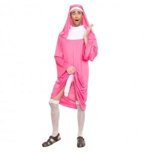Disfraz de Monja rosa Exhibicionista para adulto