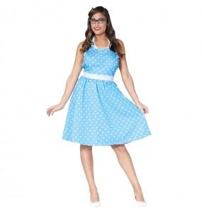 Disfraz de Mujer Años 60 Azul
