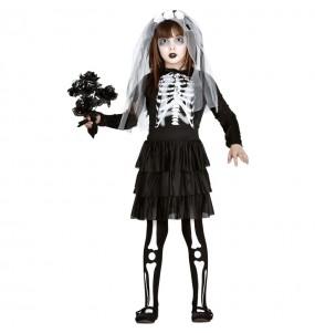 Disfraz de Novia esqueleto zombie para niña