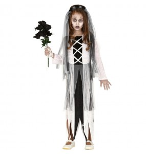 Disfraz de Novia Zombie para niña
