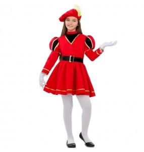 Disfraz de Paje Rey Mago rojo para niña