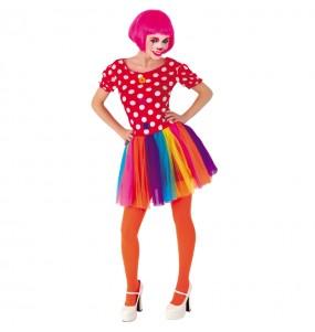Disfraz de Payasa Tul Multicolor para mujer