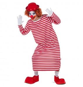 Disfraz de Payaso a rayas Blancas y Rojas para hombre