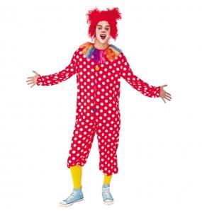 Disfraz de Payaso Botones Rojo para adulto