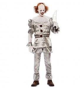 Disfraz de Payaso Diabólico gris para hombre