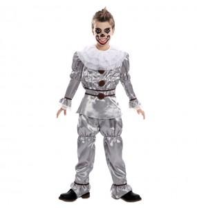 Disfraz de Payaso Diabólico gris para niño
