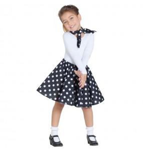 Disfraz de Años 60 negro con Lunares para niña