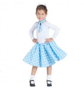 Disfraz de Años 60 azul con Lunares para niña