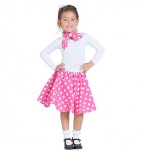 Disfraz de Años 60 rosa con Lunares para niña