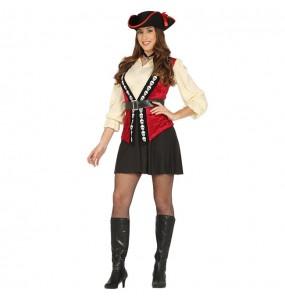Disfraz de Pirata Calavera Rojo para mujer