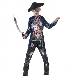 Disfraz de Pirata zombie sangriento para niño
