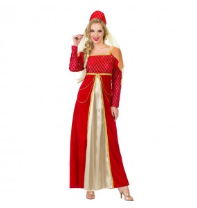 Disfraz de Princesa Medieval roja para mujer