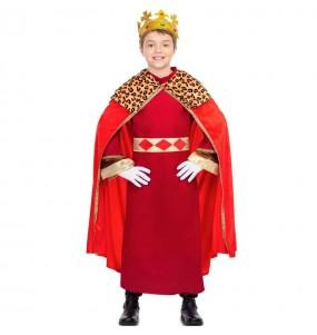 Disfraz de Rey Mago capa roja para niño