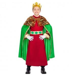 Disfraz de Rey Mago capa verde para niño