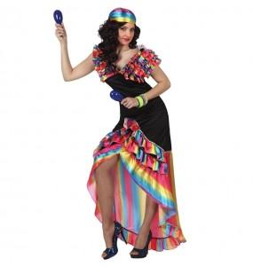 Disfraz de Rumbera Multicolor para mujer