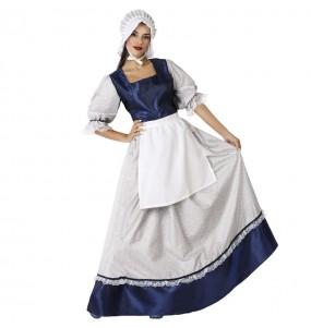 Disfraz de Tabernera medieval azul para mujer