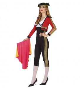 Disfraz de Torera rojo y negro para mujer