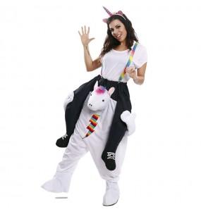 Disfraz de Unicornio multicolor a hombros para adulto