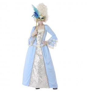 Disfraz de Veneciana Época azul para niña