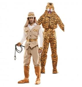 Disfraz Doble de Cazador y Tigre adulto