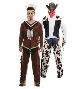 Disfraz Doble de Indio y Vaquero adulto