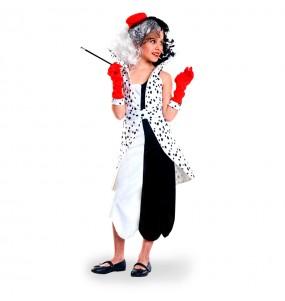 Disfraz de Villana Cruella de Vil para niña