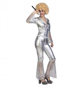 Disfraz de Disco Dancing Plata para mujer