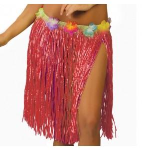 Falda Hawaiana corta roja