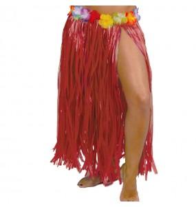 Falda Hawaiana larga roja