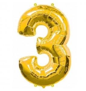 Globo número 3 dorado gigante