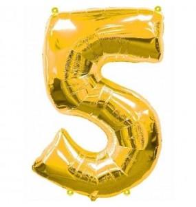 Globo número 5 dorado gigante