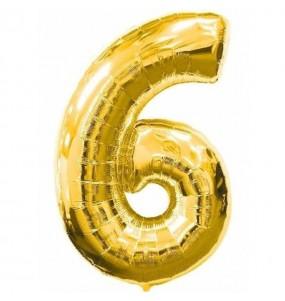 Globo número 6 dorado gigante