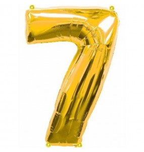 Globo número 7 dorado gigante